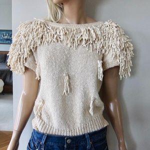 Vtg 1970s Boho Fringe Rag Pearl Cotton Sweater